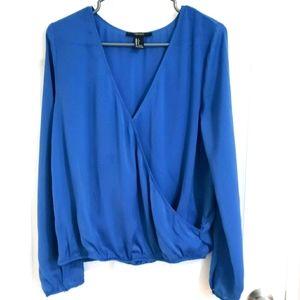 Cobalt blue long sleeve blouse